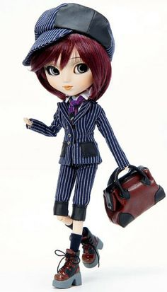 Pullip Kaela $120  - February Pullip is a mannish master detective!  - Also February Pullip has new improved body structure!  - Now my speculation begins! February detective Pullip has cute hairstyle with mixed purple color!