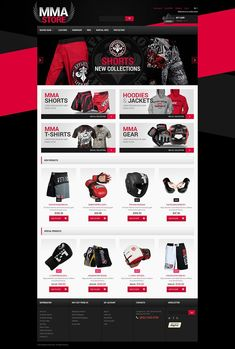 Magento Template for Martial Arts Website Mma Hoodies, Mma T Shirts, Magento Design, Web Design Software, Mma Store, Best Shopify Themes, Best Website Templates, Site Design, App Design