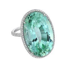 Incredible 33.85 Carat Mint Green Tourmaline Diamond Platinum Ring For Sale