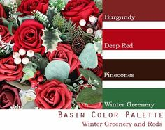 $250 Wedding Flower Package in burgundy, wine, deep red, pine cones, Christmas theme, pine, holly and berries Green And Burgundy Wedding, Deep Red Wedding, Winter Wedding Flowers, Dream Wedding, Burgundy Wine, December Wedding Colors, Winter Wedding Colors, Cranberry Wedding Colors, Winter Colors