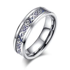 HAMANY His & Hers 8MM/6MM Tungsten Carbide Celtic Knot Dragon Design Inlay Blue Wedding Band Ring Set