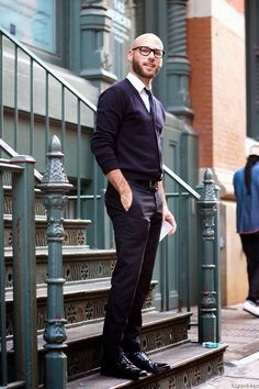 Fashion Tips For Bald Men Navy V Neck Fashion Style