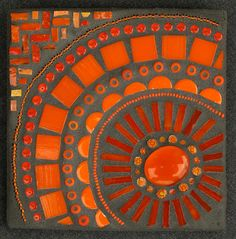 Color Study: Orange    By Megan Cain Mosaics    Glass, beads, ceramic, smalti, millefiori