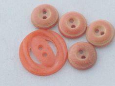 Vintage 1970s Buttons Apricot/Salmon Plastic S/4 by buttonfest, $2.00