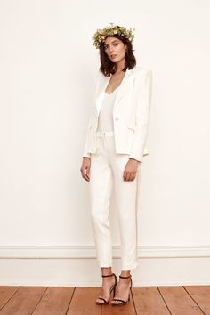 Simple and on-trend, this Fall 2017 Savannah Miller wedding suit is as effortless as it is sophisticated. Wedding Suits For Bride, White Wedding Suit, Wedding Pants, Wedding Dress Suit, Bride Suit, Lesbian Wedding, Wedding Dress Sleeves, Fall Wedding Dresses, Wedding Dress Styles