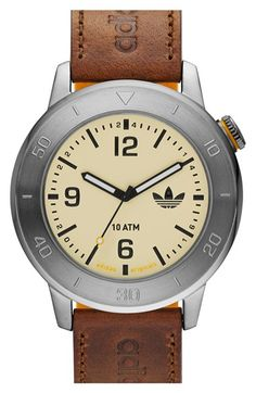 adidas Originals 'Manchester' Leather & Silicone Strap Watch, 46mm available at #Nordstrom