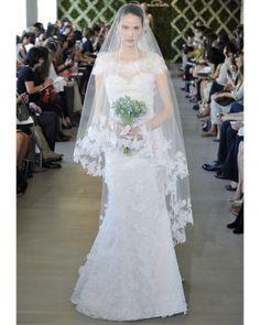"See the ""Oscar de la Renta"" in our Lace Wedding Dresses, Spring 2013 Bridal Fashion Week gallery Beautiful Wedding Gowns, New Wedding Dresses, Wedding Veils, Dream Wedding, Lace Wedding, Wedding Candy, Fantasy Wedding, Chic Wedding, Trendy Wedding"
