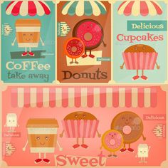 Cafe Sweet Shop. Cartoon Cover Menu Set Funny Coffee, Donuts and Cake. Vector Illustration. File contains JPEG and EPS10 format.