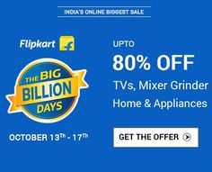 The Big Billion Day Sale - Upto 90% OFF (Fashion, Home, Electronics & Mobiles) at ‪#‎flipkart‬