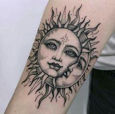 Moon Sun Tattoo, Sun Tattoos, Dope Tattoos, Nature Tattoos, Unique Tattoos, Beautiful Tattoos, Body Art Tattoos, Small Tattoos, Tatoos