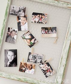 PHOTO COLLAGE Made with a Vintage Window  Frame and Chicken Wire.