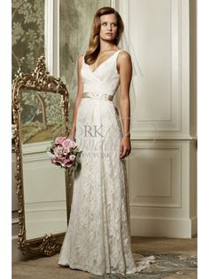 RK Bridal: Wtoo Bridal Fall 2014- Style 13118 Eloise- This sophisticated, Lingerie lace, slim sheath gown features front and back v-neckline, covered buttons, and double-faced satin ribbon with ...