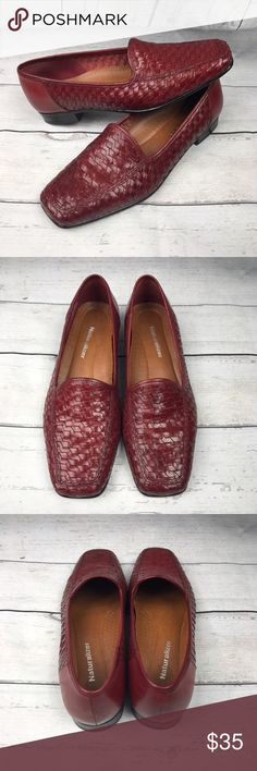 Vintage Naturalizer red leather woven Loafers Size 6.5M. In great condition. Small scuff, see pictures for details. Naturalizer Shoes Flats & Loafers