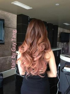 Rose gold ombre hair style