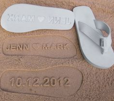 0d521a5eb Custom Wedding Sandals for a beach wedding. Personalize With Your Own Sand  Imprint Design. if I ever have a beach wedding.