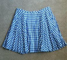 Jcrew skirt gingham blue and white New nwot 6 #JCrew #FullSkirt