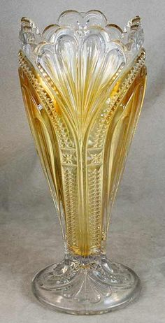 Higbee glass company marigold carnival glass Admiral Vase. http://www.morninggloryantiquescollect.com/
