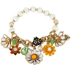 Betsey Johnson Flower Child Daisy Half Stretch Bracelet ($23) ❤ liked on Polyvore featuring jewelry, bracelets, white mult, daisy chain bracelet, daisy charm bracelet, antique gold bracelet, charm bangle and betsey johnson bracelet