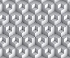 half a block within a block white wallpaper design.