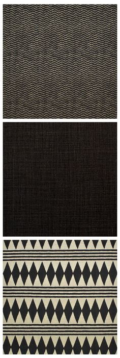 Ralph Lauren Home Black Palms Fabric Collection, featuring Mail Herringbone, Stonewashed Linen in Ebony and Bambara Cloth
