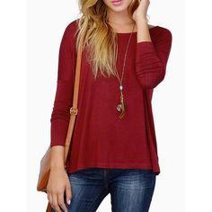 Wine Red Batwing Long Sleeve T-shirt D902-CG0183
