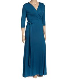 Another great find on #zulily! Teal Surplice Maxi Dress - Plus by GLAM #zulilyfinds