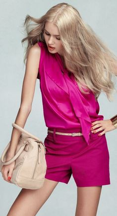 Pink Outfit (Ann Taylor, Color: shocking pink, Vibrant Tie Neck Top and Cotton Side Zip Shorts)