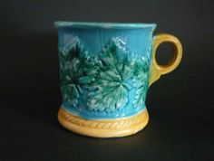 Griffen, Smith & Hill (Etruscan) Turquoise Majolica Mug with Vine Leaves c1880
