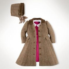 This adorable outerwear set contains a tweed princess coat with a plush velvet collar and a matching bonnet at Ralpyh Lauren