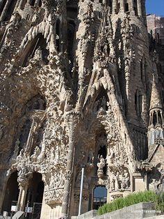 Sagrada Familia by Antoni Gaudi, Barcelona, Catalonia. They cover Sagrada Familia with colorful ceramic tiles. I'm afraid sandy look will be harmed.