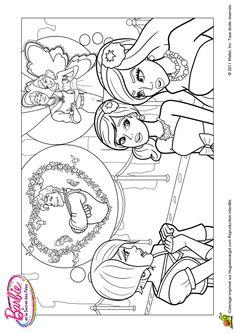 Coloriage de Barbie qui rêve de son mariage avec le prince