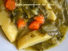 Ελαφρύ, παραδοσιακό, λαδερό νηστίσιμο πιάτο! Για το ντελμπιέ (ντερμπιέ) σας έχω ξαναμιλήσει. Είναι η λέξη που χρησιμοποιούμε στην περιοχή μας για το αλευρολέμονο. Σάλτσα εναλλακτική του… Pot Roast, Soup, Cooking Recipes, Vegan, Chicken, Ethnic Recipes, Carne Asada, Roast Beef, Food Recipes