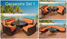 Viro Wicker Patio Furniture from our gorgeous patented Cassandra Collection. This outdoor wicker set is so versatile that it is a sofa, sectional and dining all in one!  This selection is for the beutiful Bronze Viro wicker and your choice of cushions col