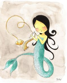 Knitting mermaid print