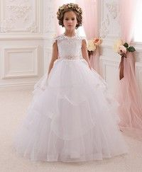 8e68966592c Lace Flower Girl Dress Butterfly Kids First Communion Gown Princess Wedding  Royal Train