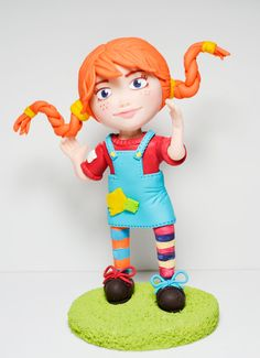 Pippi Longstocking  Cake topper souvenir or by HandcraftedCuties, $50.00