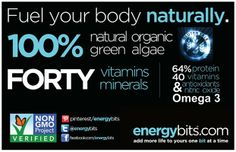 These days, it's becoming more and more important to be aware of what you're putting into your body. We can promise you that our ENERGYbits are straight from Mother Nature with nothing added or subtracted - and non GMO too. Just clean, healthy fuel!