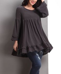 Look what I found on #zulily! Charcoal Empire-Waist Ruffle-Hem Tunic - Plus by Reborn Collection #zulilyfinds