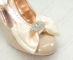 Ivory Satin Dior Bow Bridal Shoe Clips With Rhinestone