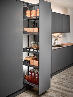 Pull Out Larder Mechanism at its best featuring a variable height frame with a large 120kg load capacity while closed shelves provide a study base