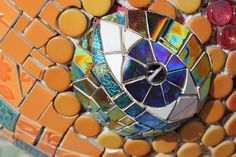 "Close-up of the eye on the Maywood Park dragon mosaic by Jolino Beserra with help from the ""mosaic mafia"""