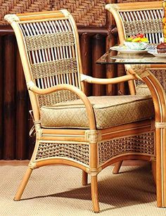 Wicker Dining Chair with Cushion (Solar Kiwi (All Weather)). Fabric: Solar Kiwi (All Weather). Solid Wicker Construction. Natural Finish. For indoor, or covered patio use only. Includes cushion.