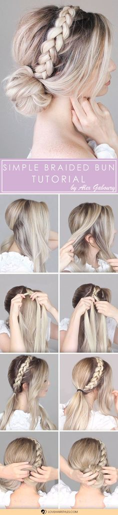 Simple Braided Bun Tutorial #braidedbun #hairtutorial #easyhairstyles ❤️ Check out the tutorials for easy updos that every girl should try. Here you will see how you can make simple messy updos with braids, curls, bows and without a sock. ❤️ See more: #lovehairstyles #hair #hairstyles #haircuts