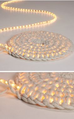 Home Discover Knitting Patterns Yarn Crochet LED fairy lights as carpet schoenstricken. Crochet Projects Craft Projects Crochet Diy Crochet Rope Learn Crochet Crochet Ideas Led Fairy Lights Creation Deco Arts And Crafts Crochet Projects, Craft Projects, Diy And Crafts, Arts And Crafts, Decor Crafts, Crochet Diy, Crochet Rope, Learn Crochet, Crochet Ideas