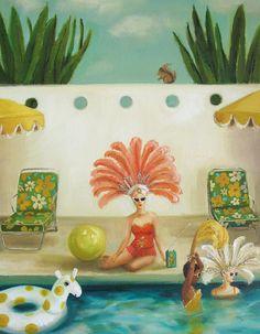 Poolside by Janet Hill - Reproduction print of an original oil painting. The Mermaid Inn, Large Prints, Fine Art Prints, Janet Hill, Canadian Artists, Pics Art, Medium Art, Art Studios, Showgirls