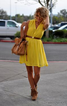 Yellow Dress + Moccasin Booties = <3  need ideas on how to wear moccasin booties!