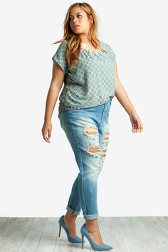 Women's Plus Size Denim | Destroyed Skinny Jean | A'GACI