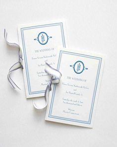 This Blue-and-White Wedding in Connecticut Was Inspired by a China Pattern | Martha Stewart Weddings - Ribbon-tied programs detailed the ceremony, which included readings from the Eloise and Berenstain Bears series of children's books.
