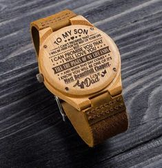 Great Gift For Son - Son Watch - Engraved Wooden Watch Perfect Gift For My Son Great Gifts For Wife, Gifts For Fiance, Christmas Gifts For Husband, Gifts For Your Boyfriend, Love Gifts, Best Gifts, Diy Gifts, Unique Gifts, Boyfriend Watch