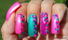 Glittery Fingers & Sparkling Toes: A Pink, Purple & Turquoise Summer Dotticure